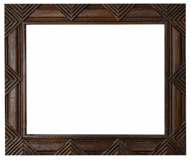Old vintage wooden frame on isolated white with clipping path. Premium Photo