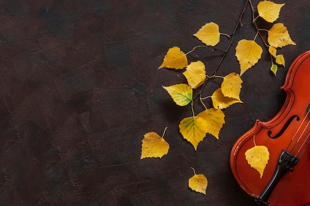 Old violin and birch branch with yellow autumn leaves. Premium Photo