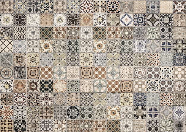 Old wall ceramic tiles patterns handcraft from thailand parks public Premium Photo
