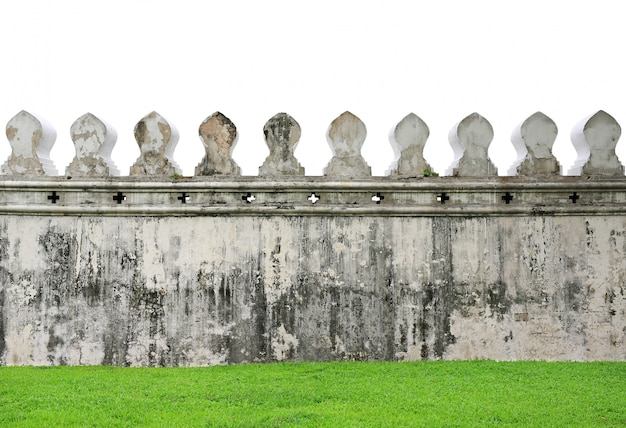Old walls of traditional thai temple isolated on white background. Premium Photo