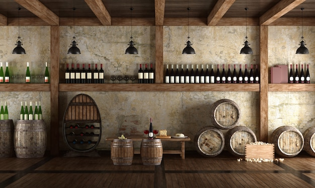 Old wine cellar with bench for tasting Premium Photo