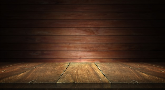 Old wood table on blurred wall background Premium Photo