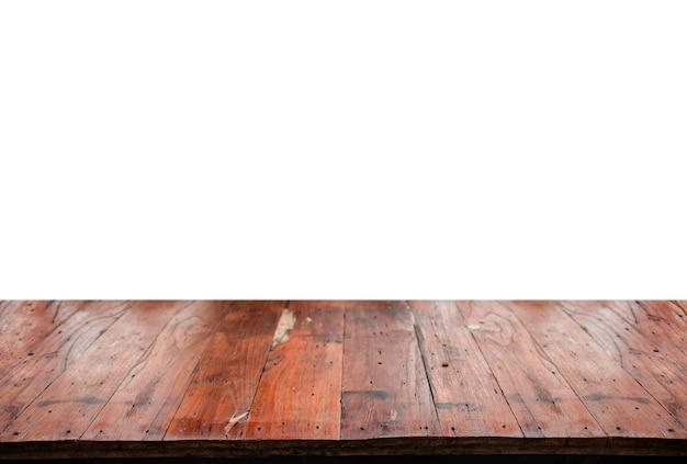 白のディスプレイ製品の古い木製テーブル Premium写真