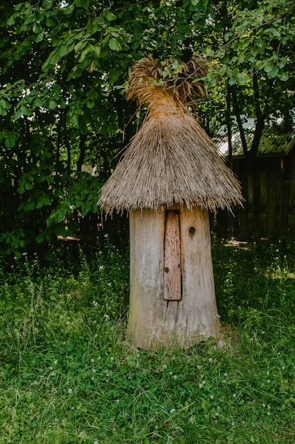 Old wooden hive with thatched roof Premium Photo