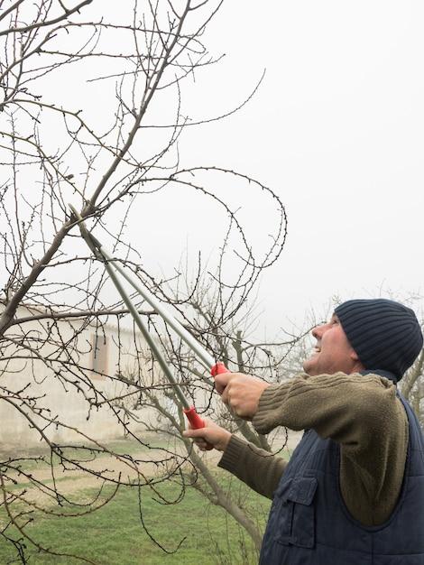 霧の日に鋏で果樹を剪定するウールの帽子を持つ老人 Premium写真