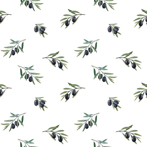 블랙 올리브 수채화 완벽 한 패턴으로 올리브 가지입니다. 프리미엄 사진