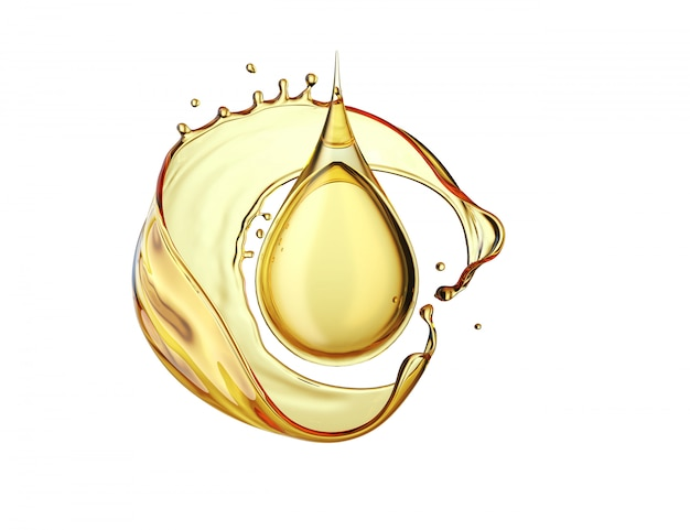 Olive oil drop on white background Premium Photo