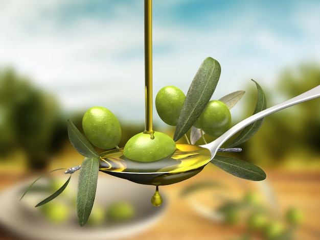 Olive oil jet over a olive branch in a spoon Premium Photo