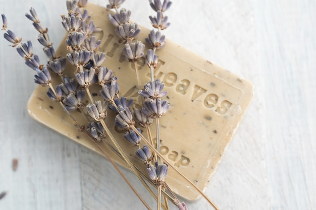 Olive oil soap with lavender and sea salt. spa and relaxation concept. Premium Photo