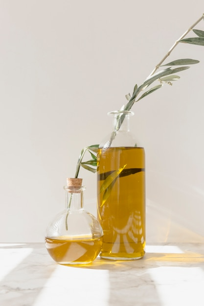 Olive twigs inside the oil bottles against the wall Free Photo
