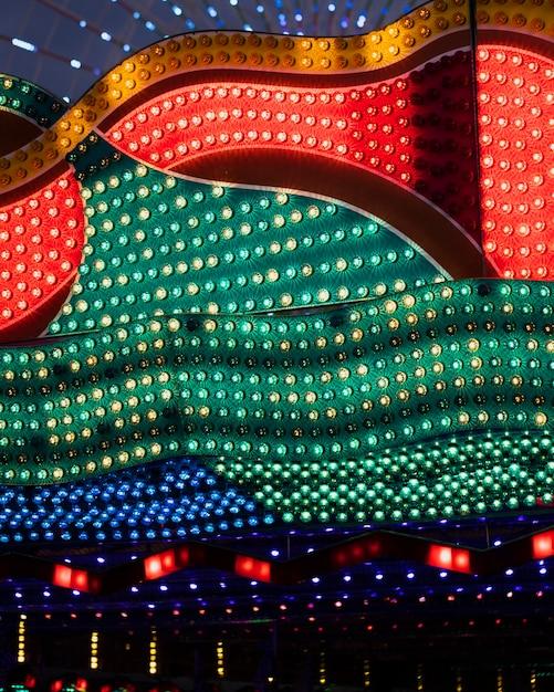 Сolourful amusement park retro lamps Free Photo
