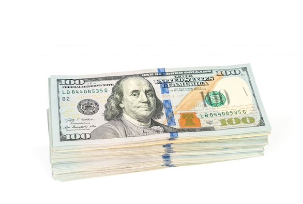 One hundred dollars banknotes on white background Free Photo
