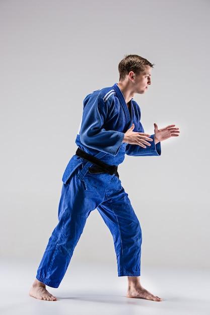 The one judokas fighter posing on gray Free Photo