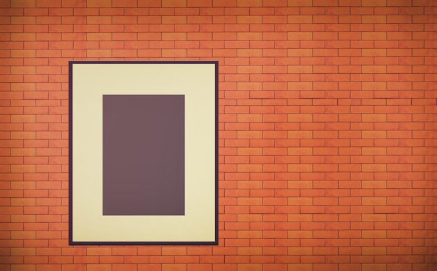 One old blank photo frame on brick wall interior Premium Photo