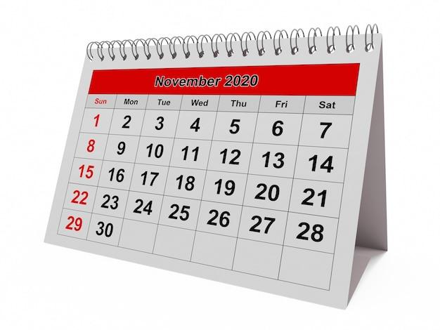Одна страница годового ежемесячного календаря - месяц ноябрь 2020 г. Premium Фотографии