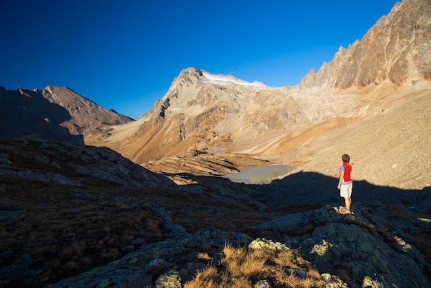 One person looking at view high up on the alps. expasive landscape, idyllic view at sunset. rear view. Premium Photo