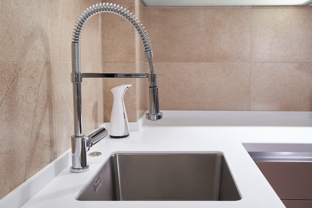 amazing marble countertop sink design and modern faucet.htm one stainless steel kitchen sink and faucet in a modern style  stainless steel kitchen sink and faucet