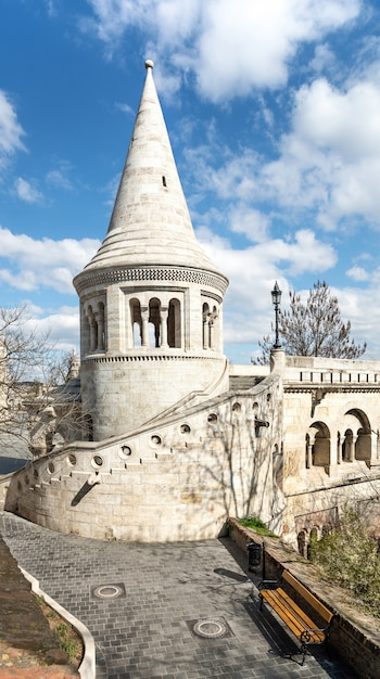 One of the towers of fishermans bastion in budapest Premium Photo