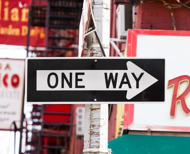 One way street sign in new york city Premium Photo