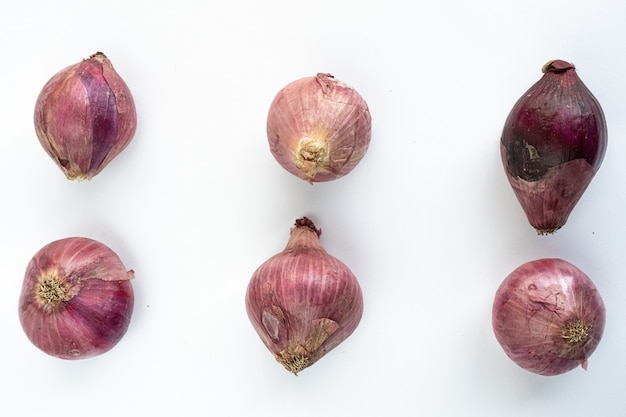 Onions on a white background isolated Premium Photo