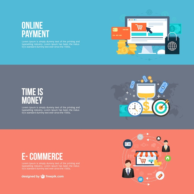 online business banners vector free download