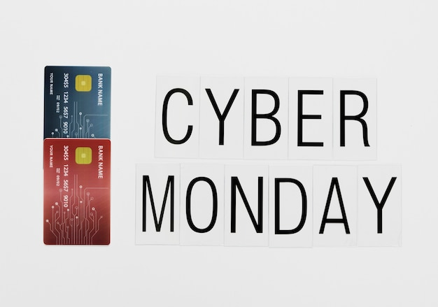 Online cyber monday message with cards Free Photo