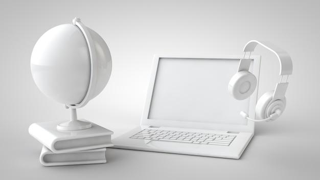Онлайн-обучение 3d иллюстрации Premium Фотографии