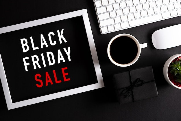 Online shopping  and black friday composition. Premium Photo