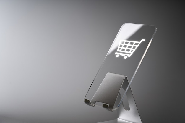 Online shopping business icon application on smart phone Premium Photo