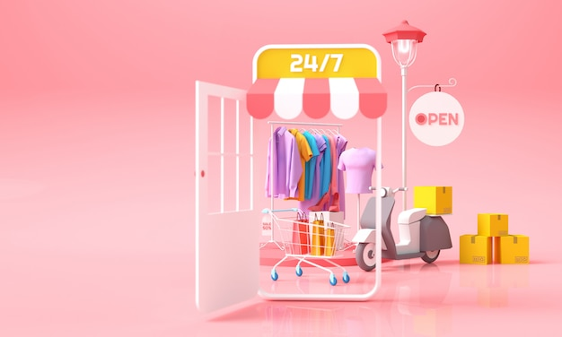 Online shopping and delivery concept. mobile shop with clothes with shopping cart and parcels box for delivery background. 3d rendering illustration. Premium Photo