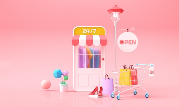 Online shopping on phone. clothes behind mobile shop'door, cart and clothe bags. online marketing background for advertising, banner, brochure and web template. 3d rendering illustration. Premium Photo