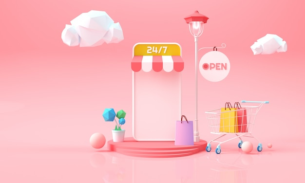 Online shopping on phone. online marketing background for advertising, banner, brochure and web template. 3d rendering illustration. Premium Photo