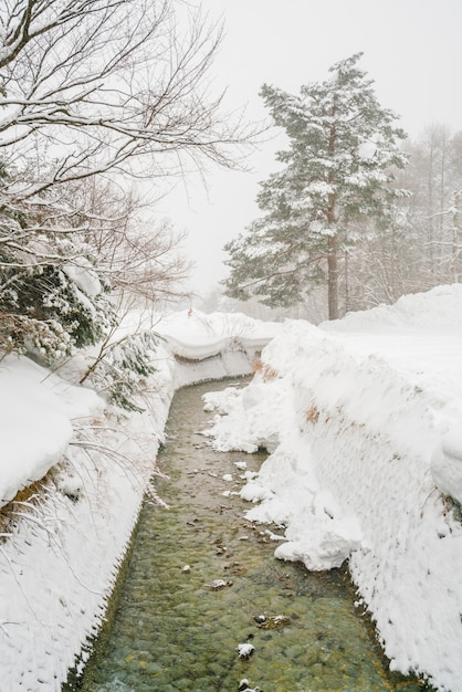 Onsen  river flows through the town in japan . Free Photo