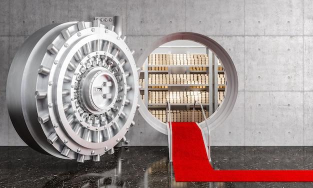 Открытая дверь банковского хранилища Premium Фотографии