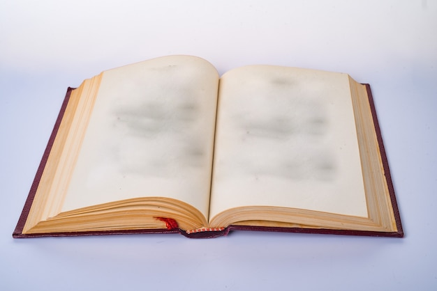 Open blank book with white paper pages Premium Photo