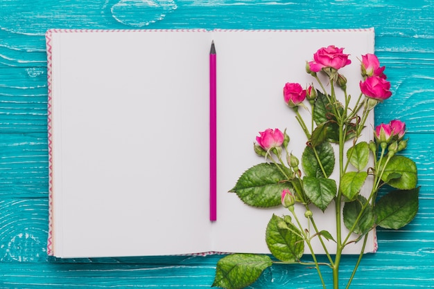 Open book with pencil and purple flowers Free Photo