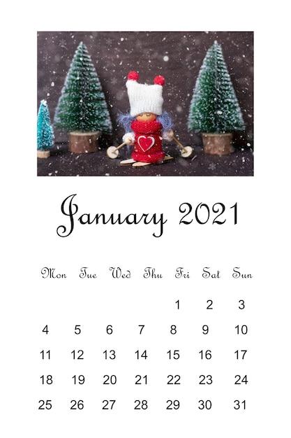 Open calendar january 2021, christmas composition Premium Photo