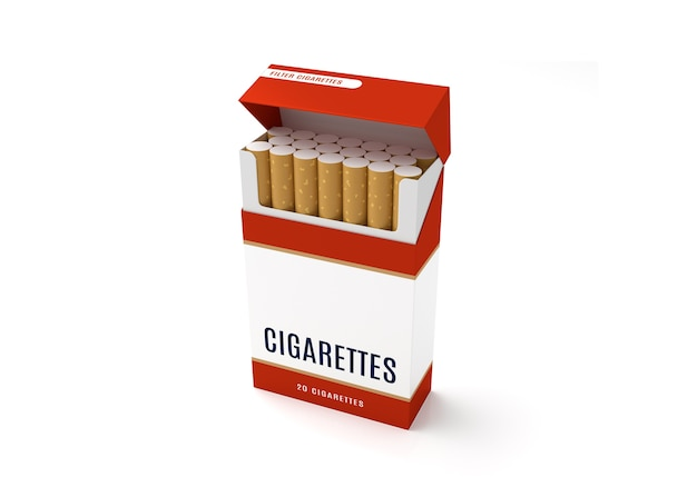 Open cigarettes pack box on white background Premium Photo