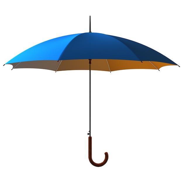 Open classic blue - yellow umbrella stick Premium Photo
