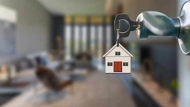 Open door with key in keyhole to modern interior living ...
