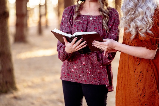 女性の手で聖書を開く 無料写真