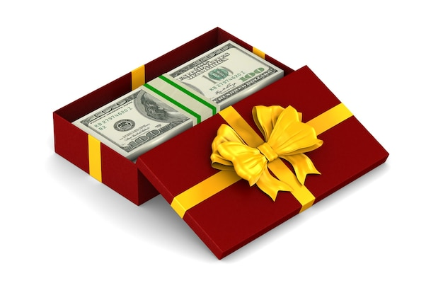 Open red gift box with money on white space. isolated 3d illustration Premium Photo