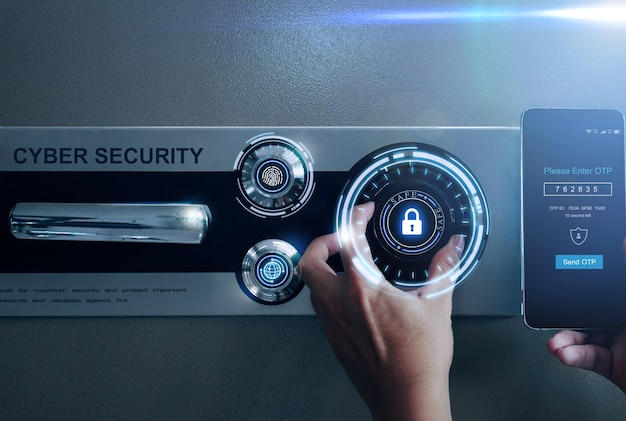 Open safe with cyber security protect finger print and one time password. Premium Photo