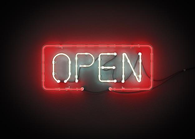 Open sign neon on wall 3d rendering Premium Photo