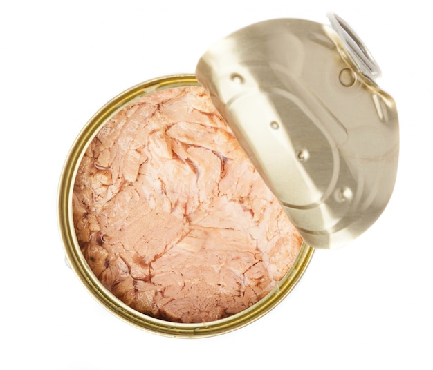 Open tuna can seen from above Free Photo