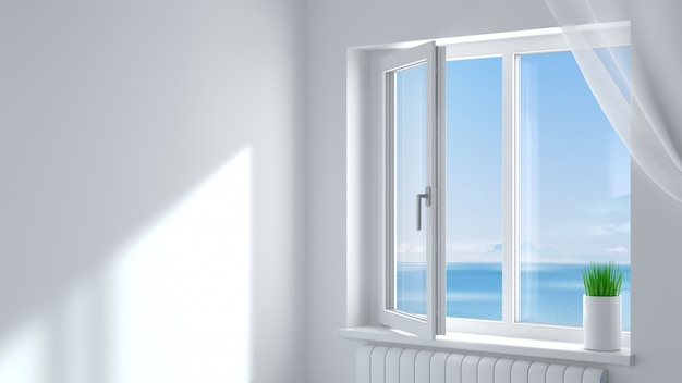 The open white modern plastic window in the room . Premium Photo
