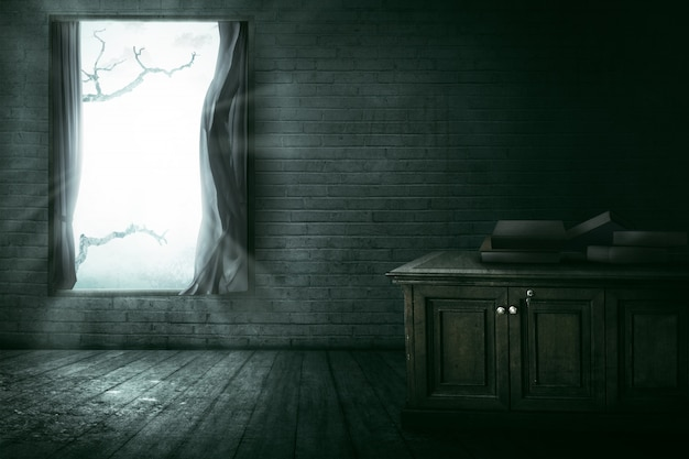 Open window with branch Premium Photo