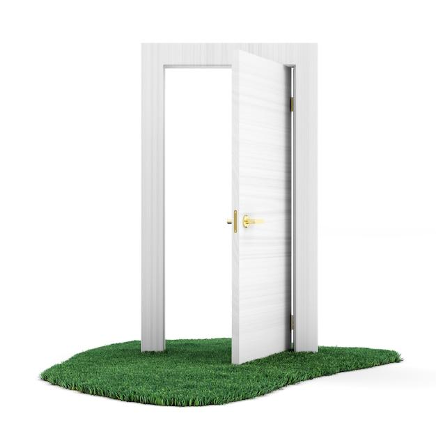 Открытая дверь на зеленой траве Premium Фотографии