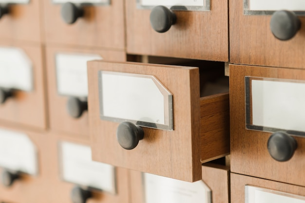 Opened drawer of library catalog Free Photo