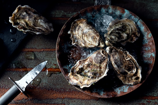 Opened fresh oysters on a dark background, a knife and water drops. rostik style. Premium Photo